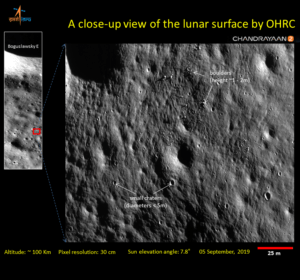a close up view of the lunar surface by OHRC chandrayaan2