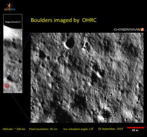 Boulders imaged by OHRC chandrayaan2