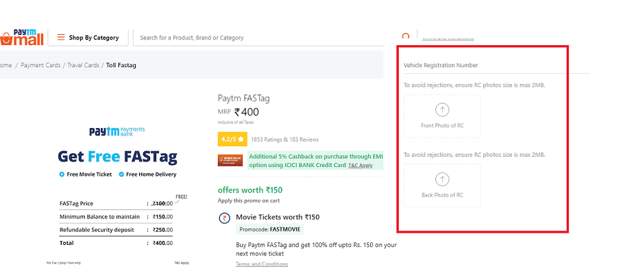 Buy FASTags Using Paytm