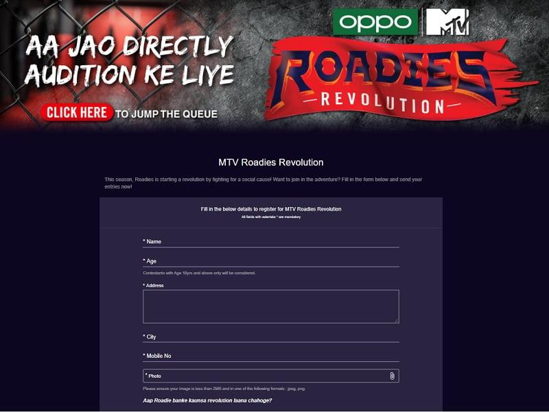 Roadies Revolution Registration Form