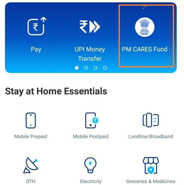 donate pmcares using paytm